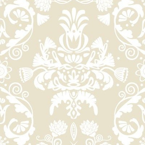 Elegant damask   off white