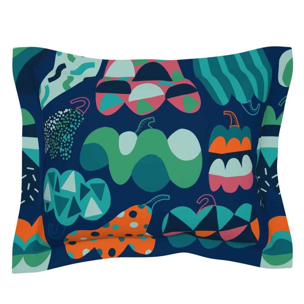 Sebright Pillow Sham featuring Jumbo large scale Pumpkins. Cool autumn harvest vegetables. by kostolom3000