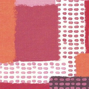 Linen Color Block in Pinks and Red