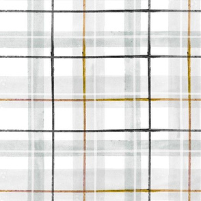 tartan - gray gold black   white