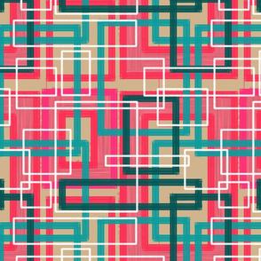 Pink Teal Cream Circuitboard