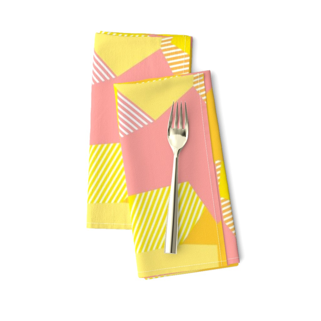 Amarela Dinner Napkins featuring Peachy to the Max - Colorblock Collage Pattern - © Autumn Musick 2019  by autumn_musick