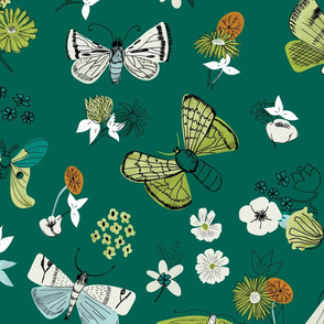 Moths and Florals in Green