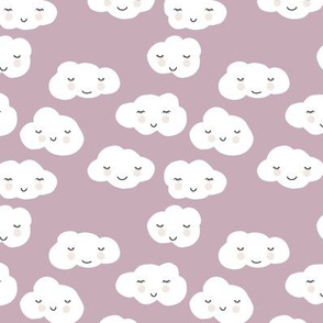 Sweet puffy clouds kawaii sky smiling sleepy cloud in fall lilac mauve white SMALL