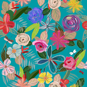 Vivid Colorful Botanical Flowers Pattern