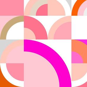Retro Geo Rainbows - Large - Blush, Pink & Orange - Large