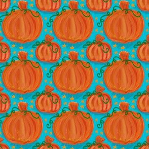 Pumpkins on Teal