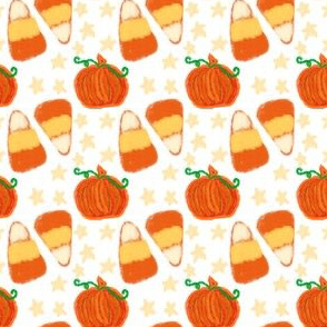 Pumpkins and Candy Corn on White