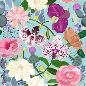 Orchid, Succulent and Roses Colorful Pattern