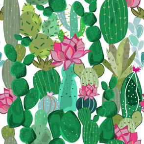 Cactus and succulent tropical flowers pattern