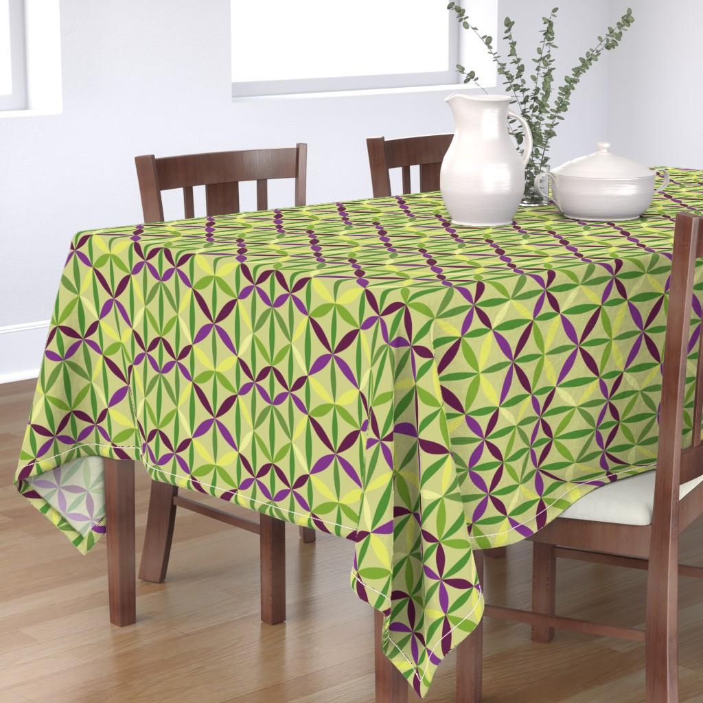 Bantam Rectangular Tablecloth featuring Lime leaf lattice by dustydiscoball