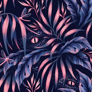 Jurassic Jungle - Navy / Coral