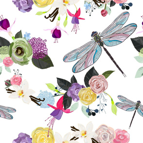 Fuchsia, Dragonfly, Vanilla Flower and Colorful Flowers