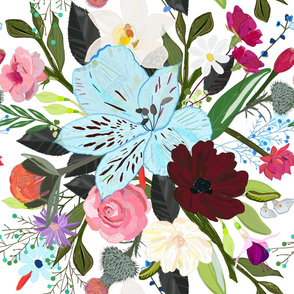 Alstroemerias, Fuchsia, Roses, Vanilla, Cosmos Flower. Floral Colorful Bouquet Pattern