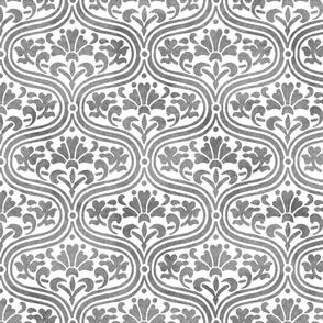 Ogival Trellis ~ Faux Silver on White