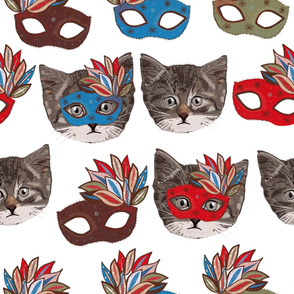 Mask and cute lovely cat pattern