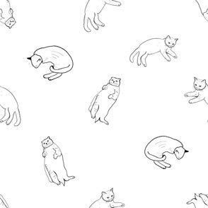 Hand drawn funny cats black white pattern