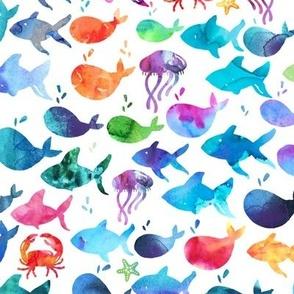 Rainbow Watercolor Fish Under The Sea - Medium