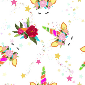 Magical Unicorn Colorful Shining Pattern With White Background