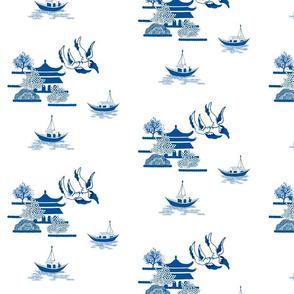 Willow-esque Swallows & Boats Tile- Blue