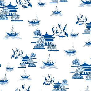 Willow-esque Swallows & Boats - Blue