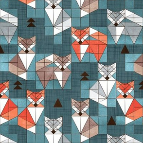 Small scale // Blocked geometric foxes // teal background white grey orange and brown foxy animals
