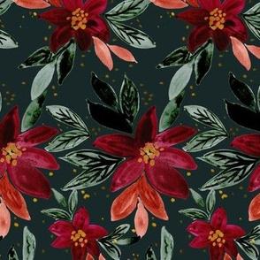 yuletide red floral - deep teal
