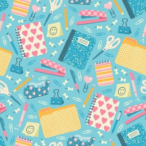 Cute Office Supplies on Blue