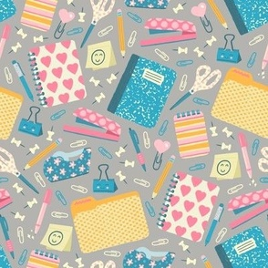 Cute Office Supplies on Gray
