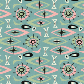 Mid Century Shapes - Pink Green Blue