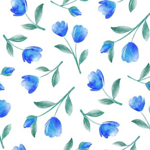 Watercolor Tulips Blue and Turquoise