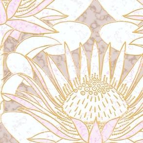 "Pink King Protea Art Deco (champagne beige) 24"""