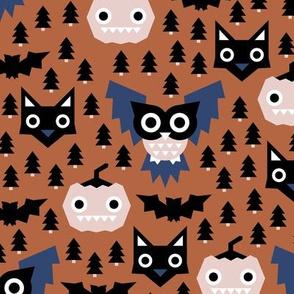 Halloween geometric fright night friends owls pumpkins bats and black cat copper blue navy