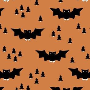 Minimal geometric bats and trees halloween woodland night copper black terra cotta