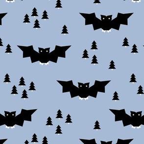 Minimal geometric bats and trees halloween woodland night blue