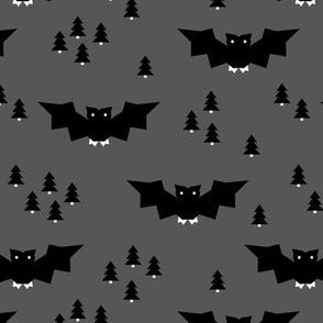 Minimal geometric bats and trees halloween woodland night black gray