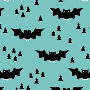 Minimal geometric bats and trees halloween woodland night blue black boys