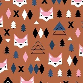 Scandinavian winter Christmas fox friends geometric style illustration design autumn terra cotta pink blue
