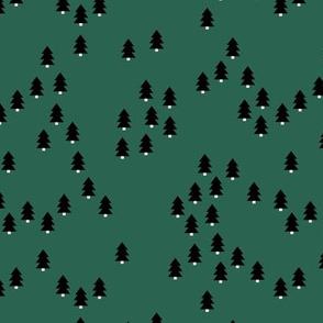 Minimal geometric pine tree forest Christmas winter wonderland woodland design abstract trees emerald green