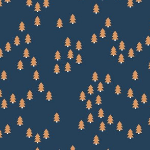 Minimal geometric pine tree forest Christmas winter wonderland woodland design abstract trees navy blue terra cotta gold