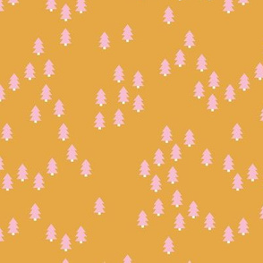 Minimal geometric pine tree forest Christmas winter wonderland woodland design abstract autumn ochre yellow pink girls