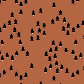 Minimal geometric pine tree forest Christmas winter wonderland woodland design abstract night terra cotta copper autumn