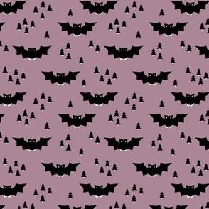 Minimal geometric bats and trees halloween woodland night mauve purple SMALL