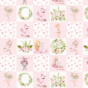 "27"" small Ballett Dance - Little Ballerinas and Cute Animals Patchwork - baby girls quilt cheater quilt fabric - spring animals flower fabric, baby fabric, cheater quilt fabric on pink"