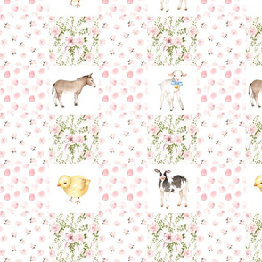 "13"" Cheater quilts, Spring Florals Mix with Little Animals on Farm on  white"