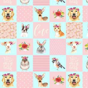 "13"" Animal Flower Garden- flowers and Cute Animals Patchwork - baby girls quilt cheater quilt fabric - spring animals flower fabric, baby fabric, cheater quilt fabric"