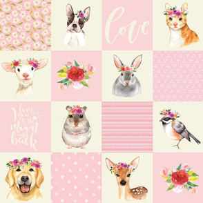 "18"" Animal Flower Garden- flowers and Cute Animals Patchwork - baby girls quilt cheater quilt fabric - spring animals flower fabric, baby fabric, cheater quilt fabric"