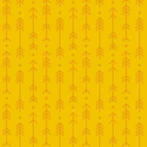 cross + arrows mustard yellow tone on tone