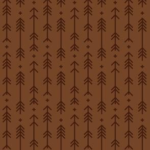 cross + arrows chocolate brown tone on tone