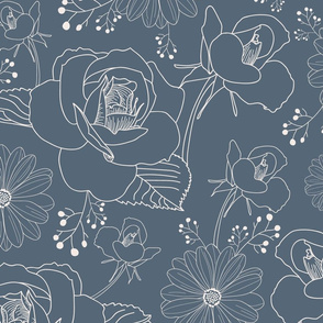 Blue and White Neutral Floral
